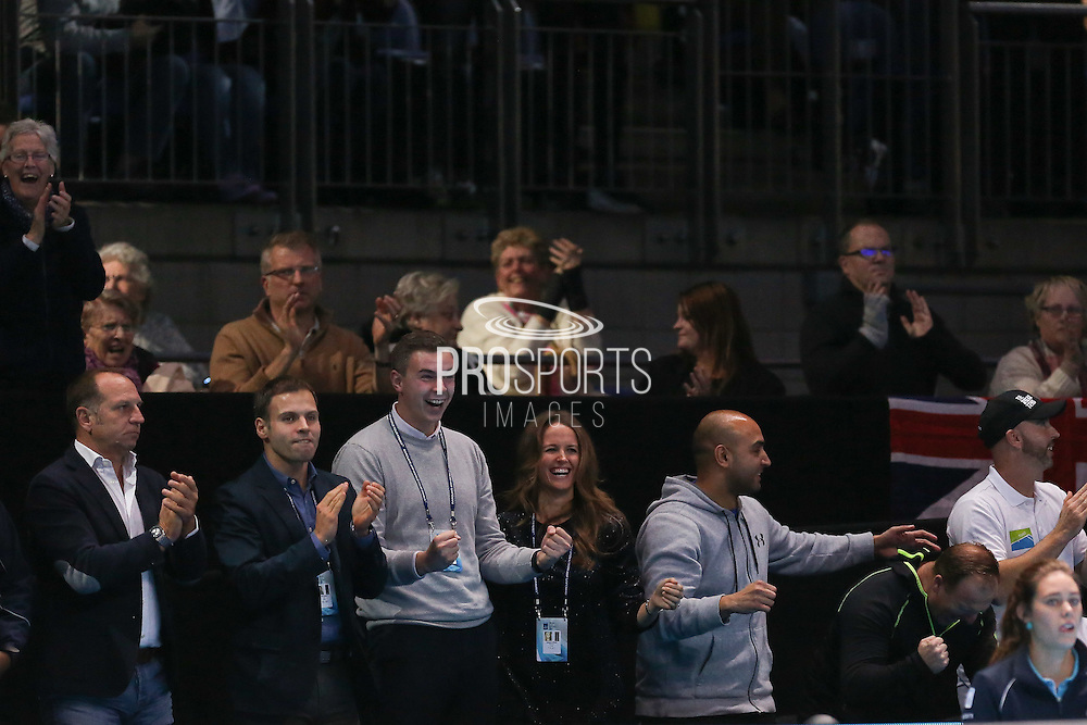 Andy Murray (Great Britain) girlfiend Kim Sears celebrates him winning the trophy during the final of the Barclays ATP World Tour Finals at the O2 Arena, London, United Kingdom on 20 November 2016. Photo by Phil Duncan.