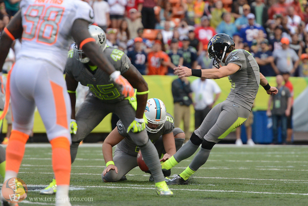 January 26, 2014; Honolulu, HI, USA; Team Sanders kicker Justin Tucker of the Baltimore Ravens (9) misses a 67-yard field goal attempt during the fourth quarter of the 2014 Pro Bowl against Team Rice at Aloha Stadium. Team Rice defeated Team Sanders 22-21.