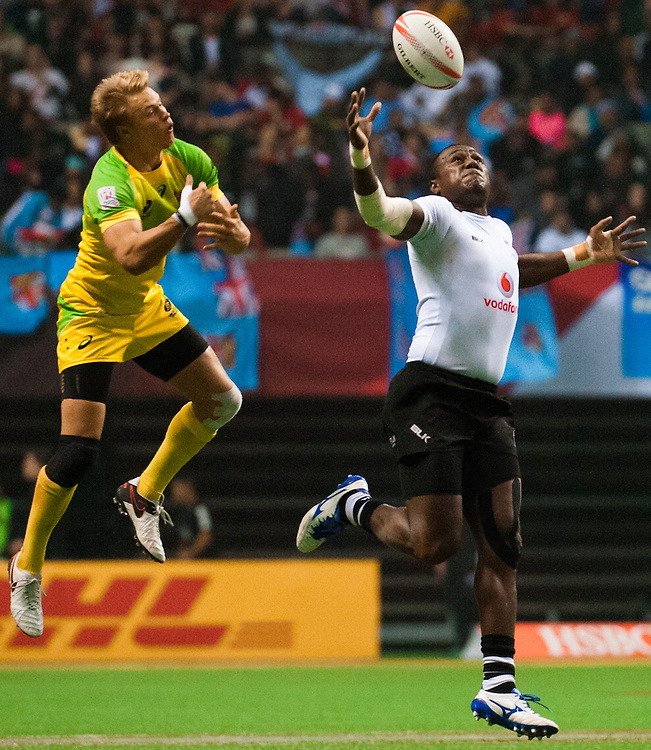 Kitiona Tailaga of Fiji goes up for a ball with during the knockout stages of the 2016 Canada Sevens leg of the HSBC Sevens World Series Series at BC Place in  Vancouver, British Columbia. Sunday March 13, 2016.<br /> <br /> Jack Megaw<br /> <br /> www.jackmegaw.com<br /> <br /> 610.764.3094<br /> jack@jackmegaw.com