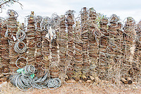 Snares recovered during patrols and placed on display, Hlane Royal National Park, Swaziland