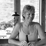 Drinking beer with Martha Hunt at her home in Whitefish, Montana.