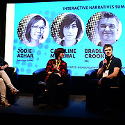 Speaker Jodie Azhar, Caroline Marchal and Bradley Crooks at London Games Festival 2019: HUB at Somerset House at Strand, London, UK. on 2nd April 2019.