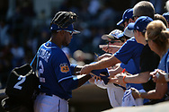 SURPRISE, AZ - MARCH 06:  Alcides Escobar #2 of the Kansas City Royals signs autographs for fans prior to the spring training game against the Arizona Diamondbacks at Surprise Stadium on March 6, 2017 in Surprise, Arizona.  (Photo by Jennifer Stewart/Getty Images)