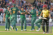 Samit Patel and Notts celebrate the wicket of James Hildreth during the NatWest T20 Blast Quarter Final match between Notts Outlaws and Somerset County Cricket Club at Trent Bridge, West Bridgford, United Kingdom on 24 August 2017. Photo by Simon Trafford.
