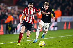John Lundstram of Sheffield United takes on Brandon Williams of Manchester United - Mandatory by-line: Robbie Stephenson/JMP - 24/11/2019 - FOOTBALL - Bramall Lane - Sheffield, England - Sheffield United v Manchester United - Premier League