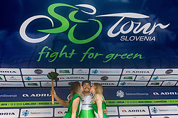 Stage Winner Giacomo Nizzolo (ITA) of Team Dimension Data celebrates at trophy ceremony after the 5th Stage of 26th Tour of Slovenia 2019 cycling race between Trebnje and Novo mesto (167,5 km), on June 23, 2019 in Slovenia. Photo by Vid Ponikvar / Sportida