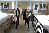 DOYLESTOWN, PA -  FEBRUARY  21:  Lois Wilson and Barbara Bortner (R), moving coordinator, after revising the layout for renovation of Lois's new residence at Pin Run February 21, 2014 in Doylestown, Pennsylvania. (Photo by William Thomas Cain/Cain Images)