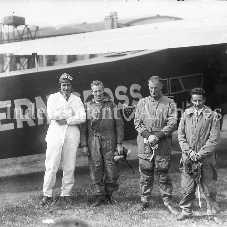 Transatlantic Flights 1930-1934. <br /> The crew of 'The Southern Cross' before their successful flight from Portmarnock to Newfoundland.<br /> L-R: Capt. J.P. Saul, navigator); Sir Charles Kingsford Smith, skipper; Mr Van Dyk, co-pilot and J.W. Stannage, radio operator. 24 June 1930<br /> (Part of the Independent Newspapers Ireland/NLI Collection)