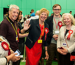 Succesful Labour candidate in Kirkcaldy & Cowdenbeath constituency Lesley Laird celebrates after taking the seat back from the SNP.<br /> © Dave Johnston/ EEm
