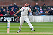 Michael Clayton of Kent bowling during the Specsavers County Champ Div 1 match between Somerset County Cricket Club and Kent County Cricket Club at the Cooper Associates County Ground, Taunton, United Kingdom on 7 April 2019.