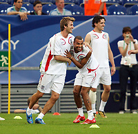 Photo: Chris Ratcliffe.<br />England Training Session. FIFA World Cup 2006. 30/06/2006.<br />David Beckham and Ashley Cole in training.