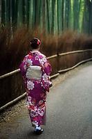 Young Japanese woman in a purple kimino walking along Arashiyama bamboo forest in Kyoto, Japan.