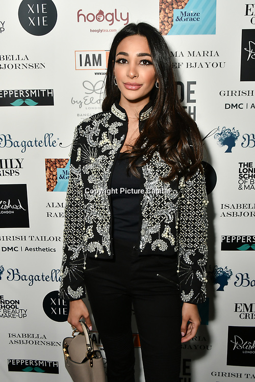 Alizey Mirza attend Nina Naustdal catwalk show SS19/20 collection by The London School of Beauty & Make-up at Bagatelle on 26 Feb 2019, London, UK.