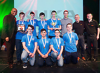 repo free  Mc Paul Sneem with Mechanical design award winners were SGC Robotics from St Geralds Castlebar Mayo and Joe Daly teacher presented by Brian Cooney and Jon Edwards Kuka at the  SAP FIRST LEGO League in Galway, where 28 teams from around the country battle it out to become Ireland's junior robotics champions 2016.  Photo:Andrew Downes, xposure.