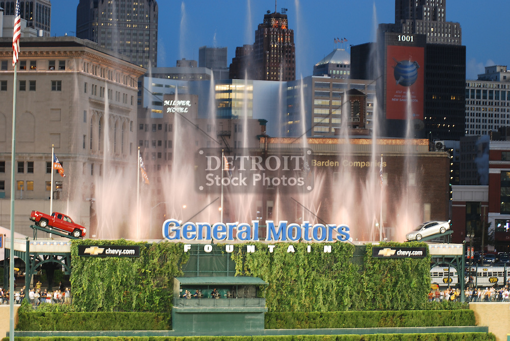 View of General Motors Fountain at Comerica Park, Detroit, MI. Home of the Detroit Tigers.