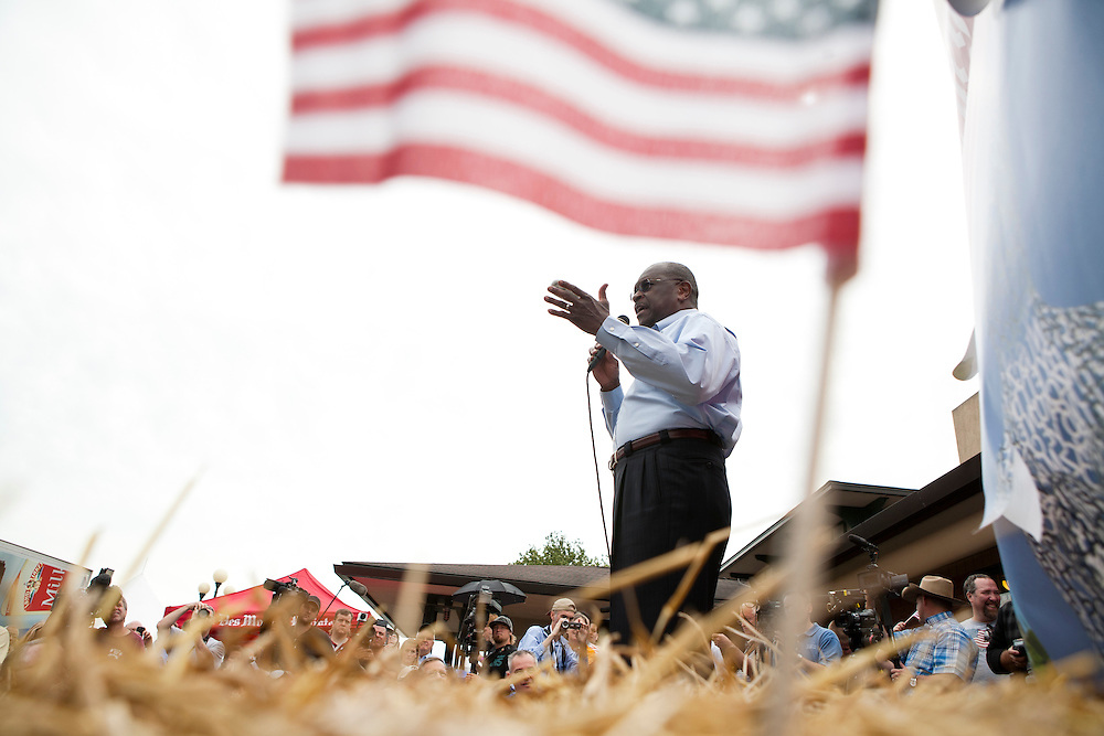 Republican presidential hopeful Herman Cain speaks at the Soap Box at the Iowa State Fair on Friday, August 12, 2011 in Des Moines, IA.