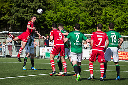 NEWTOWN, WALES - Sunday, May 6, 2018: Captain George Horan of Connahs Quay Nomads heads the ball at goal during the FAW Welsh Cup Final between Aberystwyth Town and Connahs Quay Nomads at Latham Park. (Pic by Paul Greenwood/Propaganda)