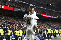 January 25, 2019 - Madrid, Madrid, Spain - Sergio Ramos(Real Madrid) seen celebrating with Alvaro Odriozola (Real Madrid) after scoring a goal during the Copa del Rey Round of quarter-final first leg match between Real Madrid CF and Girona FC at the Santiago Bernabeu Stadium in Madrid, Spain. (Credit Image: © Manu Reino/SOPA Images via ZUMA Wire)