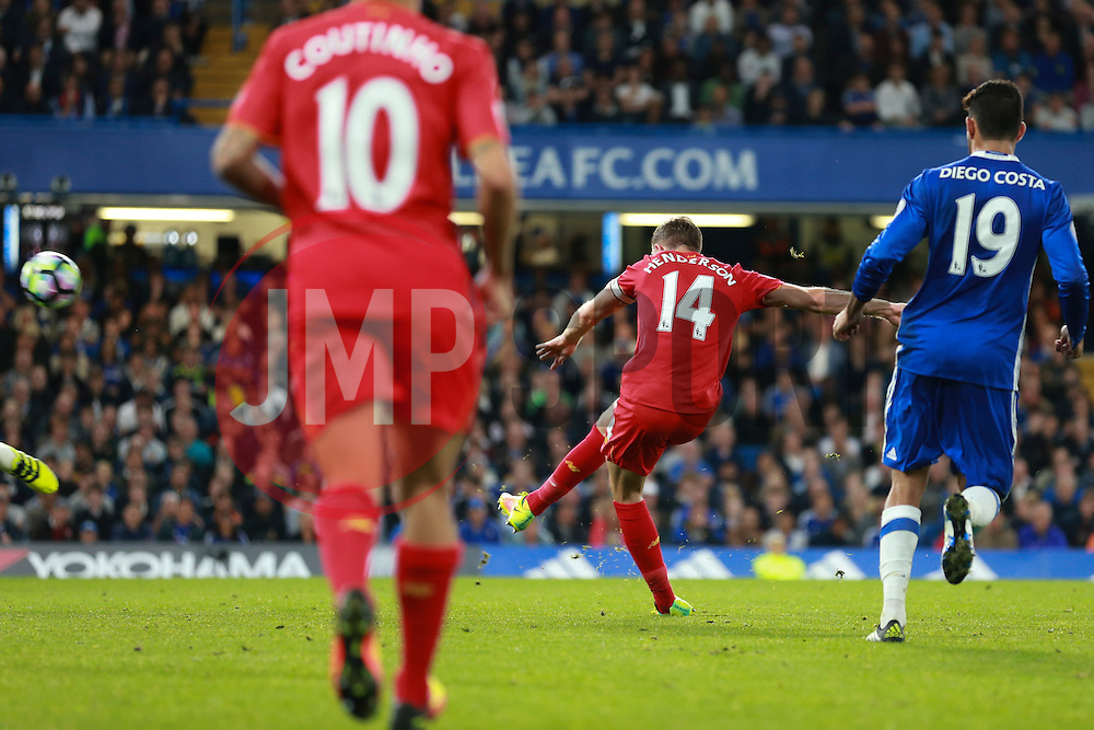 Goal, Jordan Henderson of Liverpool scores, Chelsea 0-2 Liverpool - Mandatory by-line: Jason Brown/JMP - 16/09/2016 - FOOTBALL - Stamford Bridge - London, England - Chelsea v Liverpool - Premier League