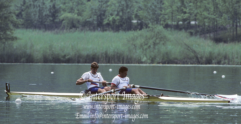 Lucerne, SWITZERLAND   SLO M2-, Bow Iztok COP and Denis ZVEGELJ. 1992 FISA World Cup Regatta, Lucerne. Lake Rotsee.  [Mandatory Credit: Peter Spurrier: Intersport Images] 1992 Lucerne International Regatta and World Cup, Switzerland