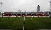 An empty Griffin Park before the Sky Bet Championship match between Brentford and Derby County at Griffin Park, London, England on 20 February 2016. Photo by Andy Walter.