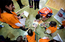 Alen Sket with fans at last final volleyball match of 1.DOL Radenska Classic between OK ACH Volley and Salonit Anhovo, on April 21, 2009, in Arena SGS Radovljica, Slovenia. ACH Volley won the match 3:0 and became Slovenian Champion. (Photo by Vid Ponikvar / Sportida)