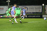 Cheltehham Town's Billy Walters shoots at goal scores a goal 4-2 during the Gloucestershire Senior Cup match between Forest Green Rovers and Cheltenham Town at the New Lawn, Forest Green, United Kingdom on 20 September 2016. Photo by Shane Healey.