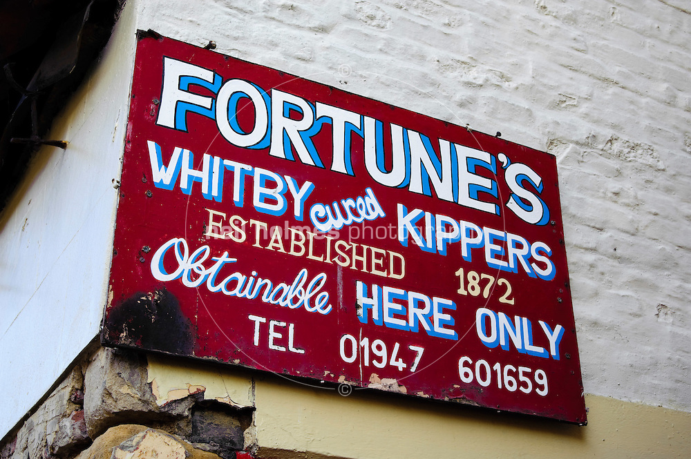 Henrietta Street Whitby, with the famous Fortune kipper shop