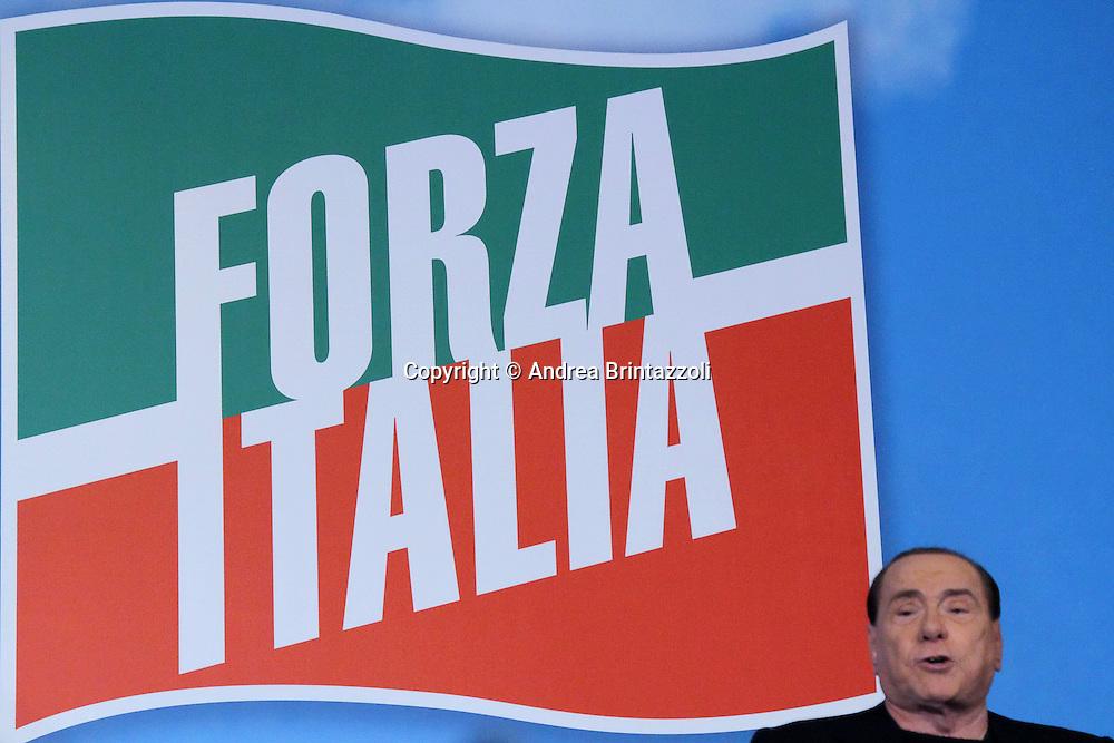 Roma 27 Novembre 2013 Manifestazione Forza Italia a Roma in Via Plebiscito davanti a Palazzo Grazioli<br /> Nella Foto Silvio Berlusconi