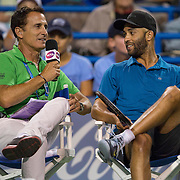August 21, 2014, New Haven, CT:<br /> James Blake is interviewed by host Andrew Krasny during the Men's Legends Event on day seven of the 2014 Connecticut Open at the Yale University Tennis Center in New Haven, Connecticut Thursday, August 21, 2014.<br /> (Photo by Billie Weiss/Connecticut Open)