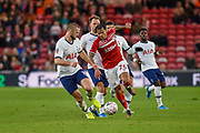 Lukas Nmecha of Middlesbrough FC battles with Eric Dier of Tottenham Hotspur during the The FA Cup match between Middlesbrough and Tottenham Hotspur at the Riverside Stadium, Middlesbrough, England on 5 January 2020.
