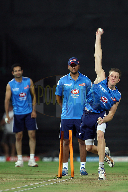 Morne Morkel during the practice session of the Delhi Daredevils held at the MA Chidambaram Stadium in Chennai, Tamil Nadu, India on 24 May 2012...Photo by Jacques Rossouw/BCCI/SPORTZPICS .