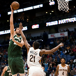 Mar 12, 2019; New Orleans, LA, USA; Milwaukee Bucks forward Nikola Mirotic (41) shoots over New Orleans Pelicans forward Darius Miller (21) during the second half at the Smoothie King Center. Mandatory Credit: Derick E. Hingle-USA TODAY Sports