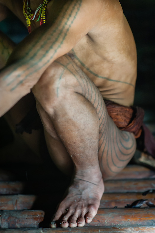 Mentawai indigenous man tatoos (Indonesia).