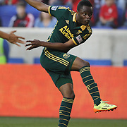 Steve Zakuani, Portland Timbers, shoots during the New York Red Bulls Vs Portland Timbers, Major League Soccer regular season match at Red Bull Arena, Harrison, New Jersey. USA. 24th May 2014. Photo Tim Clayton