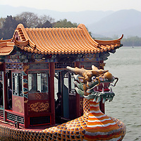 Asia, China, Beijing. Dragon Boat provides lake tour cruise at the Summer Palace.
