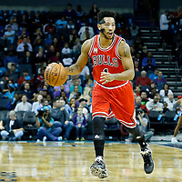 03 November 2015: Chicago Bulls guard Derrick Rose (1) brings the ball up court during the Charlotte Hornets  130-105 victory over the Chicago Bulls, at the Time Warner Cable Arena, in Charlotte, North Carolina, USA.