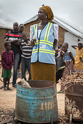 30 May 2019, Mokolo, Cameroon: Tani Yakada, a Nigerian refugee, serves as hygiene promoter at Minawao. The Minawao camp for Nigerian refugees, located in the Far North region of Cameroon, hosts some 58,000 refugees from North East Nigeria. The refugees are supported by the Lutheran World Federation, together with a range of partners.
