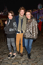 Left to right, JAIME WINSTONE, DAVID LONG and LOIS WINSTONE at Skate at Somerset House in association with Fortnum & Mason held on 10th November 2014.