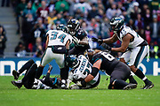Philadelphia Eagles Malcolm Jenkins S (27) is brought down after recovering the fumble during the International Series match between Jacksonville Jaguars and Philadelphia Eagles at Wembley Stadium, London, England on 28 October 2018.