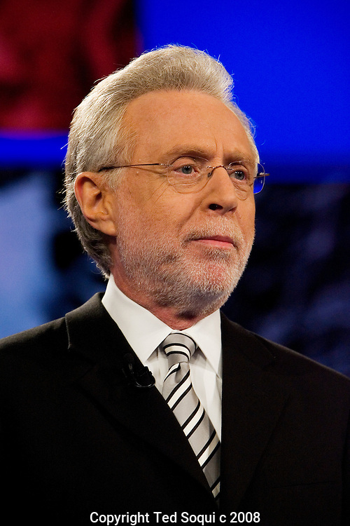 CNN Anchor Wolf Blitzer..Hillary Clinton and Barack Obama debate at the Kodak Theatre in Los Angeles.