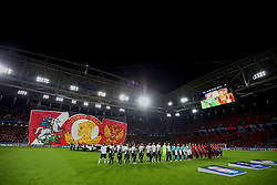 MOSCOW, RUSSIA - Tuesday, September 26, 2017: Liverpool and FC Spartak Moscow players line-up before the UEFA Champions League Group E match between Spartak Moscow and Liverpool at the Otkrytie Arena. (Pic by David Rawcliffe/Propaganda)