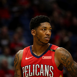 Oct 19, 2018; New Orleans, LA, USA;New Orleans Pelicans guard Elfrid Payton (4) against the Sacramento Kings during the first half at the Smoothie King Center. The Pelicans defeated the Kings 149-129. Mandatory Credit: Derick E. Hingle-USA TODAY Sports