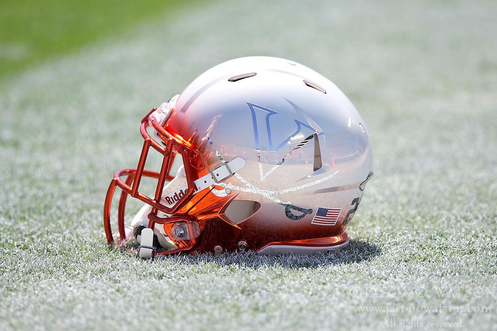 PASADENA, CA - SEPTEMBER 05:  Detailed view of a Virginia Cavaliers helmet on the field before the game against the UCLA Bruins at the Rose Bowl on September 5, 2015 in Pasadena, California. The UCLA Bruins defeated the Virginia Cavaliers 34-16. (Photo by Jason O. Watson/Getty Images) *** Local Caption ***