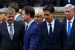 © Licensed to London News Pictures. 08/05/2015. LONDON, UK. Nick Clegg, Boris Johnson and Ed Miliband attending a service of remembrance at the Cenotaph in London marking the 70th anniversary of VE Day on Friday, 8 May 2015. Photo credit : Tolga Akmen/LNP