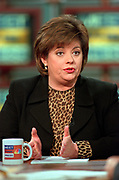 NBC reporter Lisa Myers discusses the latest allegations of sexual misconduct by President Bill Clinton during the Sunday political talk show, Meet the Press, on NBC-TV February 28, 1999 in Washington, DC.