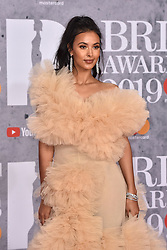 February 20, 2019 - London, United Kingdom of Great Britain and Northern Ireland - Maya Jama arriving at The BRIT Awards 2019 at The O2 Arena on February 20, 2019 in London, England  (Credit Image: © Famous/Ace Pictures via ZUMA Press)