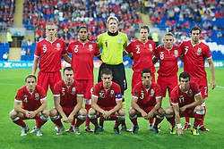 02.09.2011, Cardiff City Stadium, Cardiff, WAL, UEFA Euro 2012, Qualifier, Wales vs Montenegro, im Bild Wales' players line up for a team group photograph before the UEFA Euro 2012 Qualifying Group G match against Montenegro at the  Cardiff City Stadium. Back row L-R: Steve Morison, Ashley Williams, goalkeeper Wayne Hennessey, Chris Gunter, Craig Bellamy, Joe Ledley. Front row L-R: David Vaughan, Darcy Blake, captain Aaron Ramsey, Neil Taylor, Gareth Bale, EXPA Pictures © 2011, PhotoCredit: EXPA/ Propaganda/ D. Rawcliffe *** ATTENTION *** UK OUT!