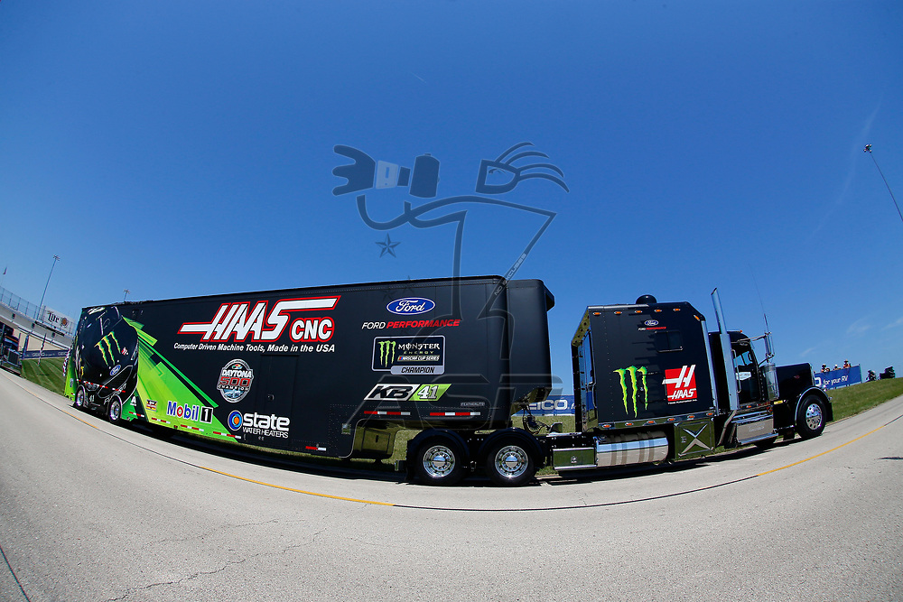 The hauler for Kurt Busch (41) drives through the infield during hauler parking for the Overton's 400 at Chicagoland Speedway in Joliet, Illinois .