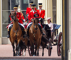 LONDON - UK - 15 JUNE 2013: Kate, the Duchess of Cambridge.<br /> Members of the British Royal Family join HM Queen Elizabeth for the annual Trooping The Colour Ceremony to mark the Queen's Official Birthday. The Queen and members of the family travelled by carriage to Horseguards for the ceremonial parade before joining her on the balcony of Buckingham Palace.<br /> The Duke of Edinburgh who normally accompanies the Queen was absent as he is still in hospital recovering from an operation.<br /> Photograph by Ian Jones.